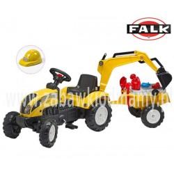 FALK Traktor RANCH żółty z przyczepą koparką