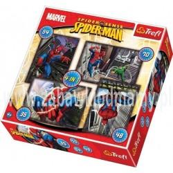 PUZZLE 4W1 SPIDERMAN 35, 48, 54 I 70 ELEMENTÓW