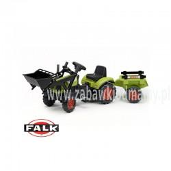 FALK Traktor na pedały CLAAS ARION zielony z przyczepą + łyżka