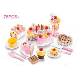 Tort urodzinowy do krojenia, kuchnia - 75 el. różowy