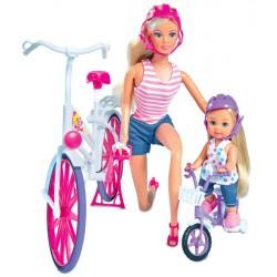 SIMBA Lalka Steffi i Evi Przejażdżka na Rowerze