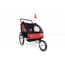 Przyczepka rowerowa z amortyzatorem 2-osobowa +JOGGER czerwona