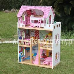 Domek dla lalek Drewniany Melisa Piętrowy Różowy