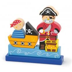 Drewniane Klocki magnetyczne Viga Zestaw Pirat 10 Elementów