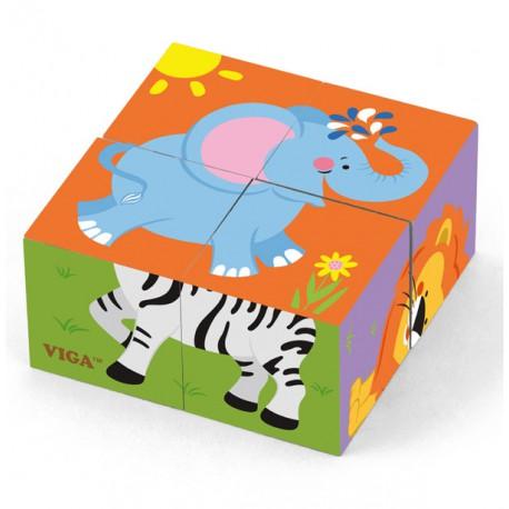 VIGA Kostki Logiczne Puzzle - Zoo