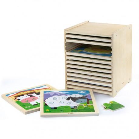 VIGA Drewniane Puzzle 9-częściowe - zestaw 12 szt