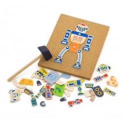 Drewniana Przybijanka Roboty 45 elementów Viga Toys