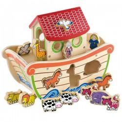 Viga Drewniana Arka Noego z Figurkami zwierząt 17 elementów
