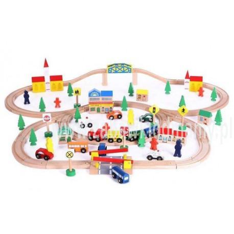 Drewniana kolejka lokomotywa 100 elementów