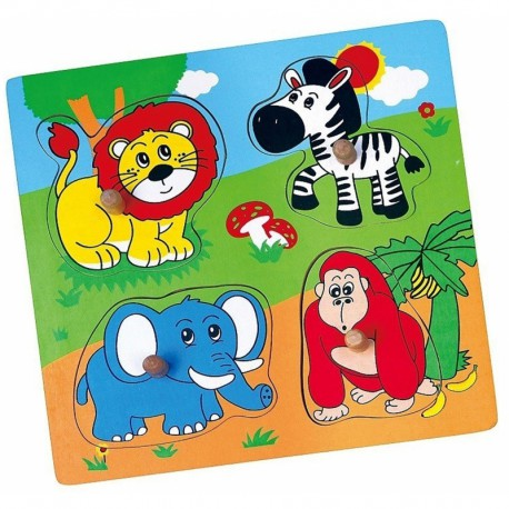 Drewniane Puzzle Zwierzęta ZOO Układanka Niespodzianka Viga Toys
