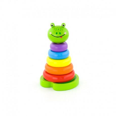 Edukacyjna Zabawka Drewniana Viga Piramidka Nauka Kolorów Żabka