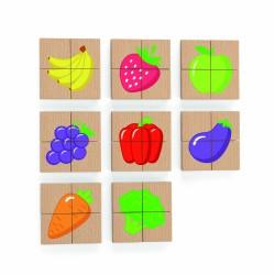 Drewniane Puzzle Magnetyczne Owoce Warzywa Układanka Viga Toys