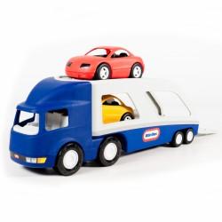 Little tikes Duża naczepa laweta do przewozu samochodów + dwa auta osobowe