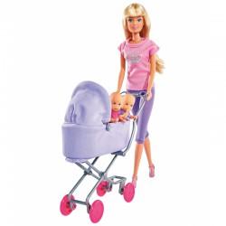Simba Lalka Steffi Love z dziećmi i Fioletowym Głębokim Wózkiem
