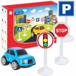 Zestaw Edukacyjny Mini Znaków Drogowych 16 ele. + Samochodzik WOOPIE