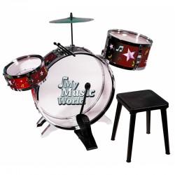 Simba Instrument Perkusja 3 bębny talerze werbel + krzesełko