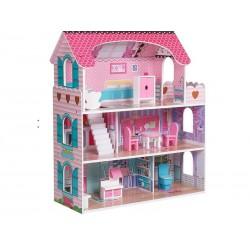 Domek dla lalek Drewniany, WILLA z zestawem mebli