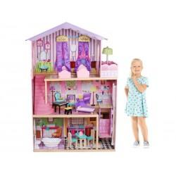 Domek dla lalek z WINDĄ drewniany - OGROMNY + akcesoria