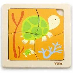 VIGA Poręczne Drewniane Puzzle Żółw