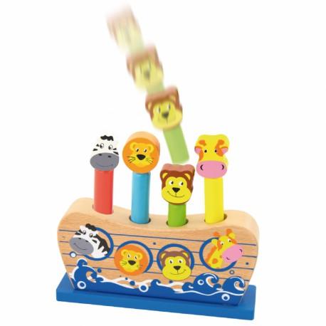 VIGA Drewniane Skaczące Zwierzątka Arka Noego