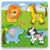 VIGA Drewniane Puzzle z Pinezkami Dzikie Zwierzęta