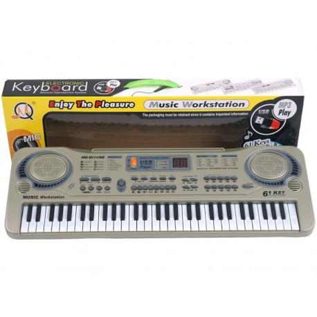 Keyboard MQ-811 Organki, 61 Klawiszy, Zasilacz, Mikrofon, USB