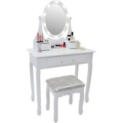 Toaletka kosmetyczna z potrójnym lustrem LED i taboretem