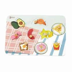 CLASSIC WORLD Drewniane Puzzle Jedzenie z Pinezkami Układanka Dopasuj Kształty 10 el.