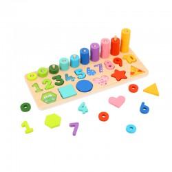 TOOKY TOY Układanka Nauka Liczenia Kształtów Kolorów Montessori 71 el.
