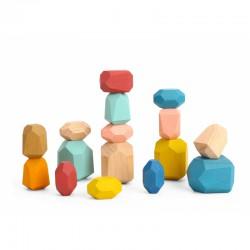 TOOKY TOY Klocki Drewniane Kamienie Edukacyjne Montessori 16 el.